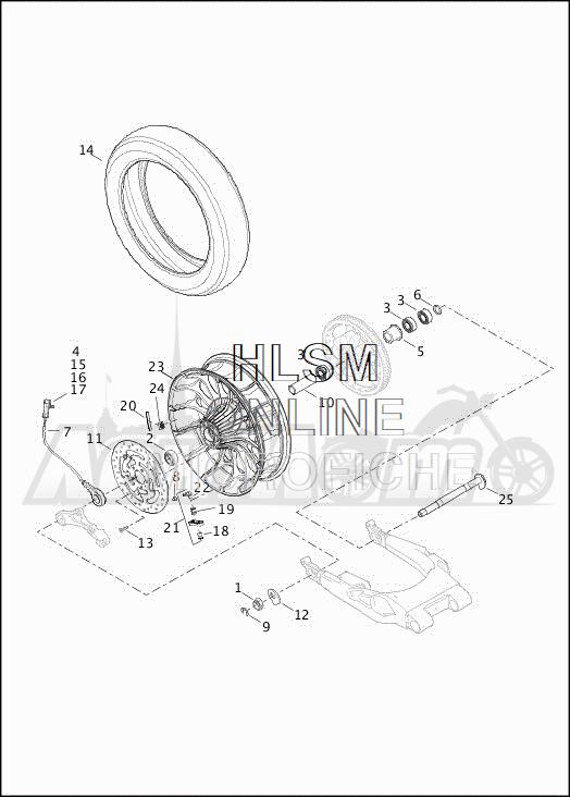 Запчасти для Мотоцикла Harley-Davidson 2019 FLHXSE CVO STREET GLIDE (PX) Раздел: WHEEL - REAR WHEEL ASSEMBLY W/BRAKE DISK | заднее колесо колесо в сборе вместе с тормозной диск