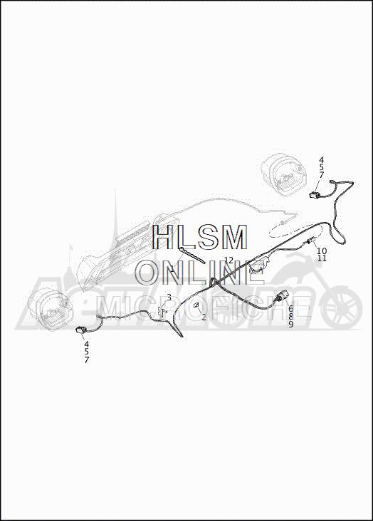 Запчасти для Мотоцикла Harley-Davidson 2019 FLRT FREEWHEELER (MC) Раздел: WIRING HARNESS_TURN SIGNALS AND LIGHTS_REAR - HDI | электропроводка коса сигналы поворота и LIGHTS зад HDI