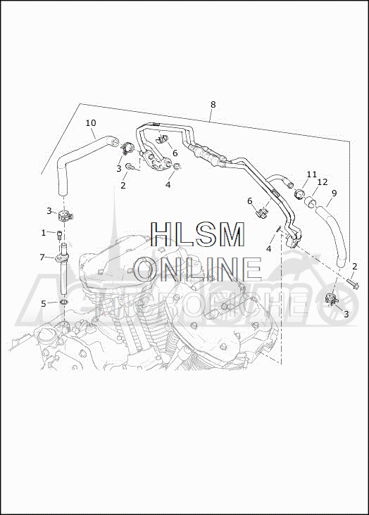 Запчасти для Мотоцикла Harley-Davidson 2019 FLRT FREEWHEELER (MC) Раздел: COOLING SYSTEM - ENGINE LINES | система охлаждения двигатель магистрали