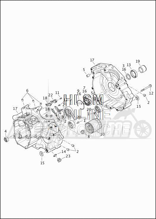 Запчасти для Мотоцикла Harley-Davidson 2019 FLRT FREEWHEELER (MC) Раздел: CRANKCASE ASSEMBLY | картер в сборе