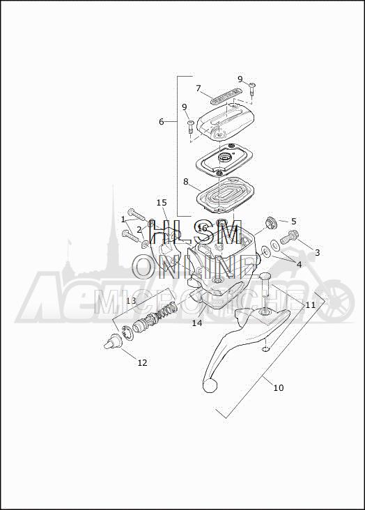 Запчасти для Мотоцикла Harley-Davidson 2019 FLRT FREEWHEELER (MC) Раздел: BRAKE - FRONT BRAKE CYLINDER ASSEMBLY W/LEVER | передний тормоз тормоза цилиндр в сборе вместе с рычаг