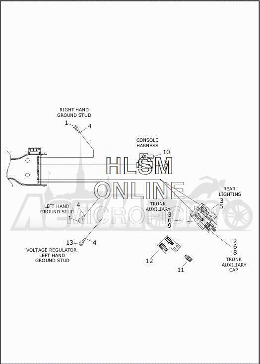 Запчасти для Мотоцикла Harley-Davidson 2019 FLRT FREEWHEELER (MC) Раздел: ELECTRICAL - MAIN WIRING HARNESS - 5 | электрика главный электропроводка коса 5