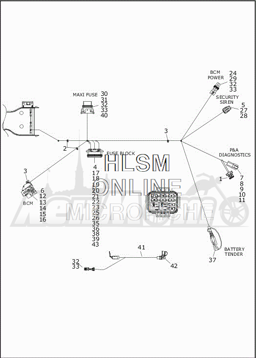 Запчасти для Мотоцикла Harley-Davidson 2019 FLRT FREEWHEELER (MC) Раздел: ELECTRICAL - MAIN WIRING HARNESS - 8 | электрика главный электропроводка коса 8