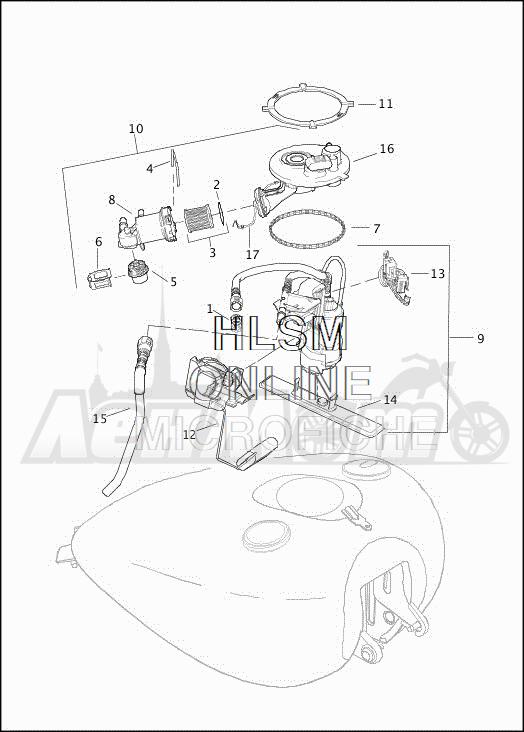 Запчасти для Мотоцикла Harley-Davidson 2019 FLRT FREEWHEELER (MC) Раздел: FUEL PUMP ASSEMBLY W/SENDER AND TOP PLATE | топливный насос в сборе вместе с передатчик и верх пластина