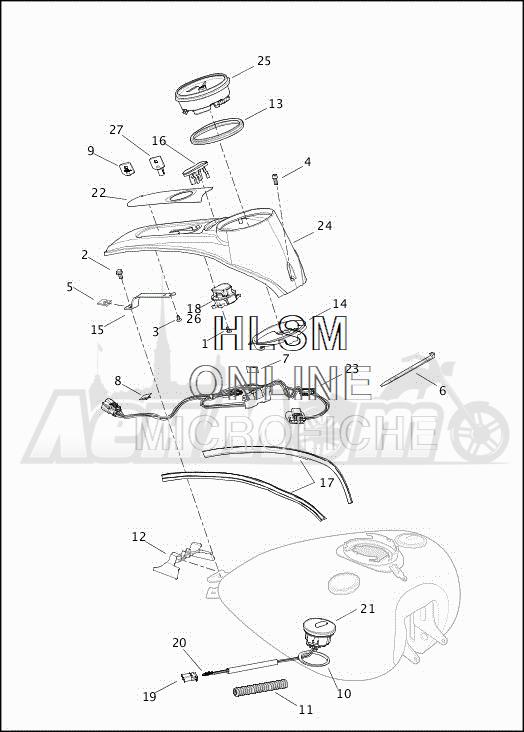 Запчасти для Мотоцикла Harley-Davidson 2019 FLRT FREEWHEELER (MC) Раздел: FUEL TANK CONSOLE ASSEMBLY | топливный бак консоль в сборе