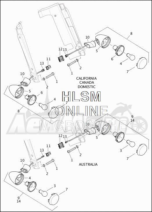 Запчасти для Мотоцикла Harley-Davidson 2019 FLRT FREEWHEELER (MC) Раздел: TURN SIGNALS - FRONT - DOMESTIC - AUSTRALIA | сигналы поворота перед внутренний рынок австралия