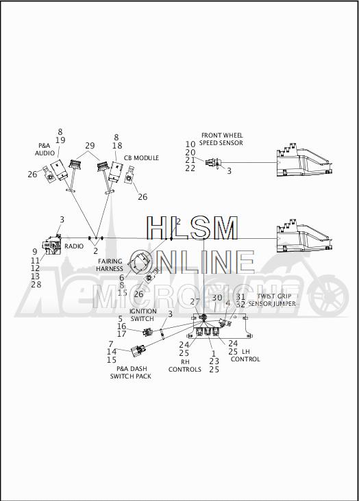Запчасти для Мотоцикла Harley-Davidson 2019 FLTRU ROAD GLIDE ULTRA (KG) Раздел: WIRING HARNESS_MAIN - ABS - 2 | электропроводка главный жгут ABS 2