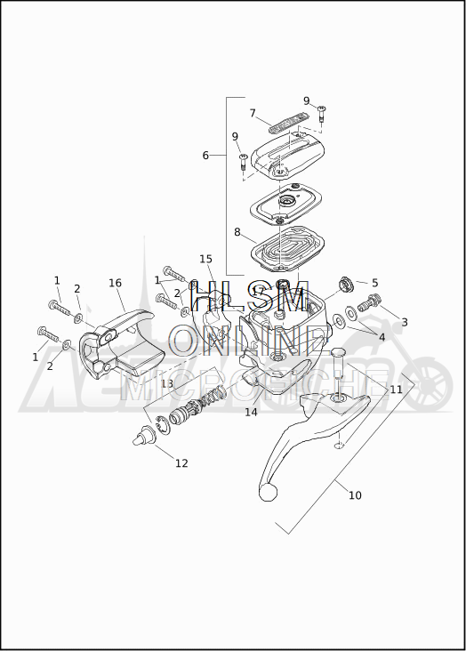 Запчасти для Мотоцикла Harley-Davidson 2019 FLTRU ROAD GLIDE ULTRA (KG) Раздел: BRAKE - FRONT BRAKE CYLINDER ASSEMBLY W/LEVER | передний тормоз тормоза цилиндр в сборе вместе с рычаг