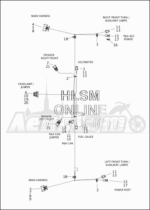 Запчасти для Мотоцикла Harley-Davidson 2019 FLTRU ROAD GLIDE ULTRA (KG) Раздел: ELECTRICAL - MAIN WIRING - FAIRING | электрика главный электропроводка обтекатель