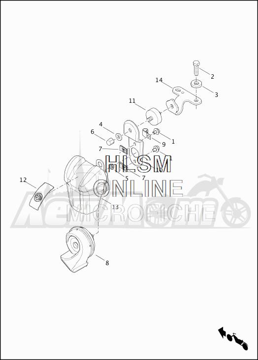 Запчасти для Мотоцикла Harley-Davidson 2019 FLTRU ROAD GLIDE ULTRA (KG) Раздел: HORN ASSEMBLY | звуковой сигнал, гудок в сборе