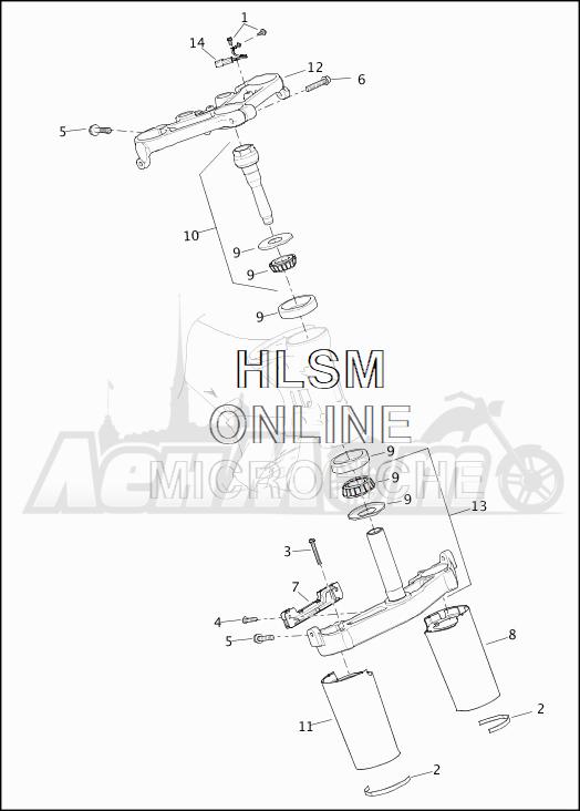 Запчасти для Мотоцикла Harley-Davidson 2019 FLTRU ROAD GLIDE ULTRA (KG) Раздел: SUSPENSION - FRONT FORK BRACKETS | передняя подвеска вилка кронштейны
