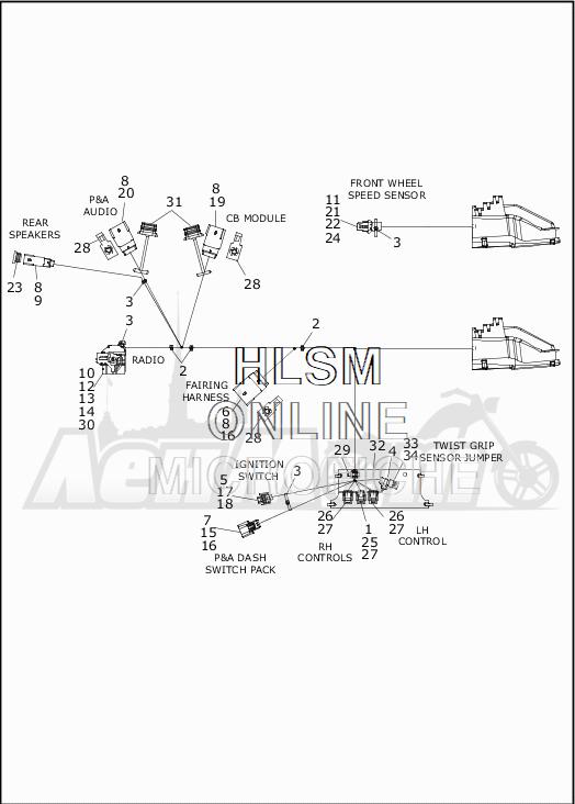 Запчасти для Мотоцикла Harley-Davidson 2019 FLTRX ROAD GLIDE (KH) Раздел: WIRING HARNESS_MAIN - ABS - 2 | электропроводка главный жгут ABS 2