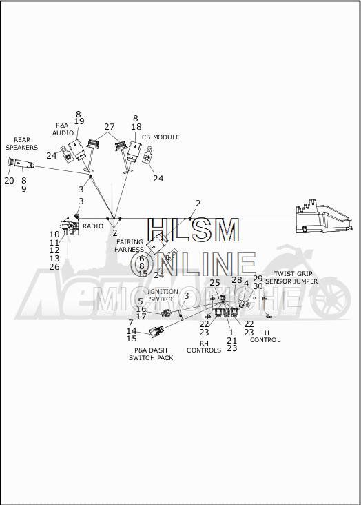 Запчасти для Мотоцикла Harley-Davidson 2019 FLTRX ROAD GLIDE (KH) Раздел: WIRING HARNESS_MAIN - NON ABS - 2 | электропроводка главный жгут не ABS 2