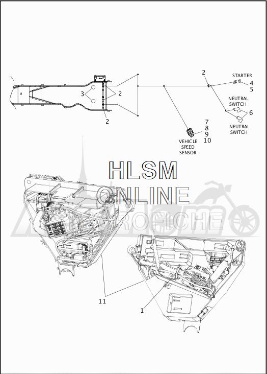 Запчасти для Мотоцикла Harley-Davidson 2019 FLTRX ROAD GLIDE (KH) Раздел: WIRING HARNESS_MAIN - NON-ABS - 6 | электропроводка главный жгут не ABS 6