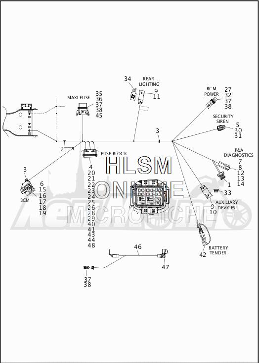 Запчасти для Мотоцикла Harley-Davidson 2019 FLTRX ROAD GLIDE (KH) Раздел: WIRING HARNESS_MAIN - NON-ABS - 8 | электропроводка главный жгут не ABS 8