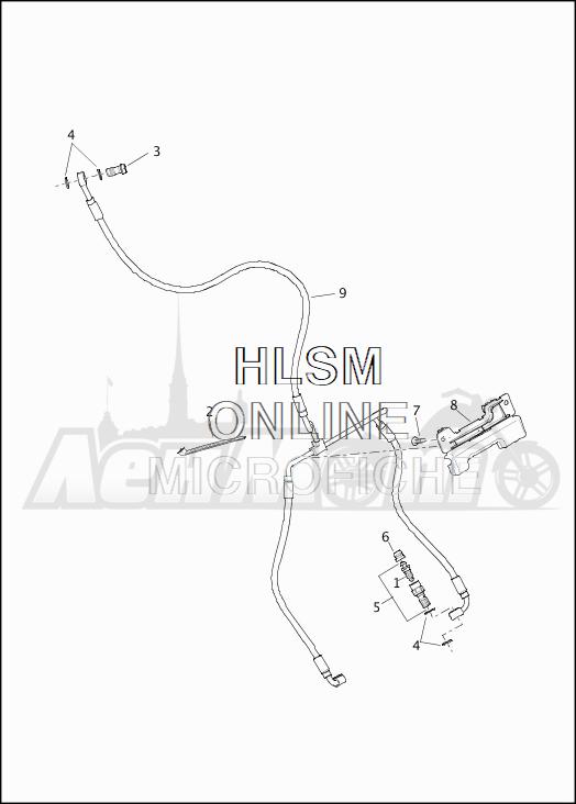 Запчасти для Мотоцикла Harley-Davidson 2019 FLTRX ROAD GLIDE (KH) Раздел: BRAKE - FRONT LINE (NON-ABS) | передний тормоз магистраль (не ABS)