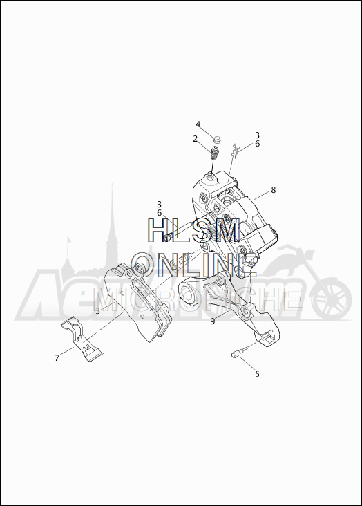Запчасти для Мотоцикла Harley-Davidson 2019 FLTRX ROAD GLIDE (KH) Раздел: BRAKE - REAR BRAKE CALIPER ASSEMBLY | задний тормоз тормозной суппорт в сборе