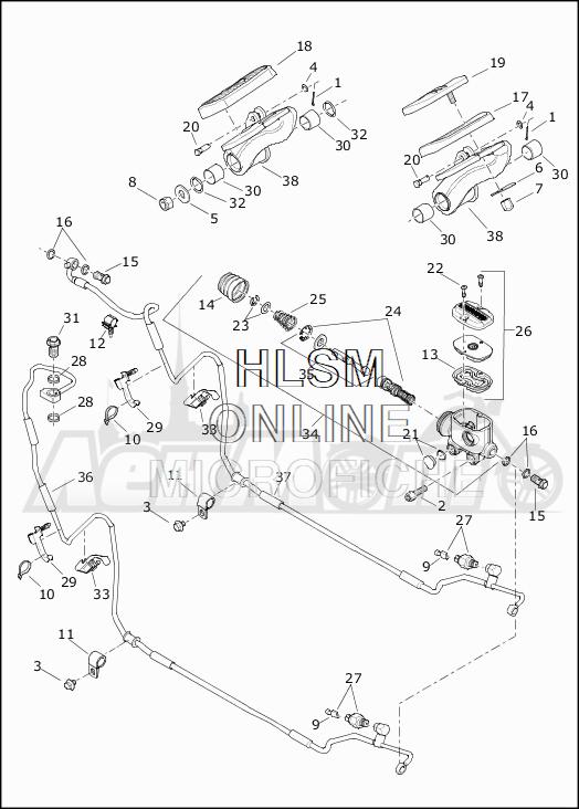 Запчасти для Мотоцикла Harley-Davidson 2019 FLTRX ROAD GLIDE (KH) Раздел: BRAKE - REAR BRAKE CYLINDER W/PEDAL | задний тормоз тормоза цилиндр вместе с педаль