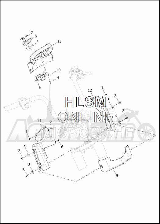 Запчасти для Мотоцикла Harley-Davidson 2019 FLTRX ROAD GLIDE (KH) Раздел: INSTRUMENT HOUSING | прибор корпус, кожух