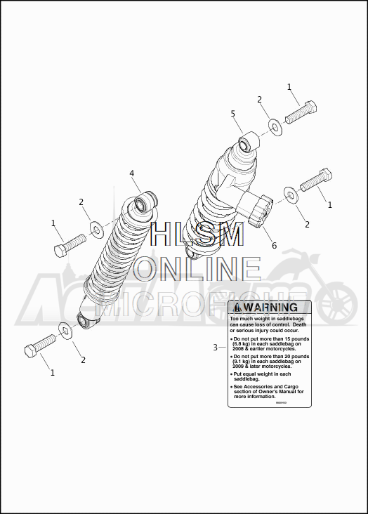 Запчасти для Мотоцикла Harley-Davidson 2019 FLTRX ROAD GLIDE (KH) Раздел: SUSPENSION - REAR SHOCK ABSORBERS | задняя подвеска амортизаторы