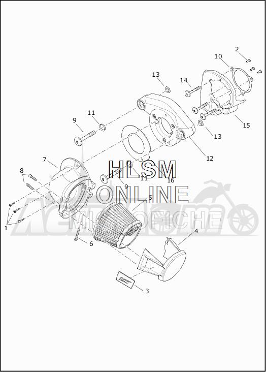 Запчасти для Мотоцикла Harley-Davidson 2019 FLTRXSE CVO ROAD GLIDE (TC) Раздел: AIR CLEANER ASSEMBLY | очиститель воздуха в сборе