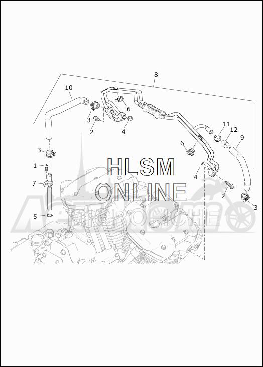 Запчасти для Мотоцикла Harley-Davidson 2019 FLTRXSE CVO ROAD GLIDE (TC) Раздел: COOLING SYSTEM - ENGINE LINES | система охлаждения двигатель магистрали