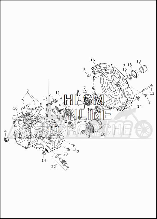 Запчасти для Мотоцикла Harley-Davidson 2019 FLTRXSE CVO ROAD GLIDE (TC) Раздел: CRANKCASE ASSEMBLY W/OIL FILTER | картер в сборе вместе с масляный фильтр