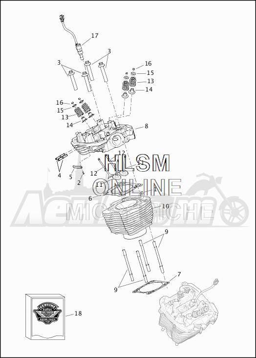 Запчасти для Мотоцикла Harley-Davidson 2019 FLTRXSE CVO ROAD GLIDE (TC) Раздел: CYLINDERS W/HEADS AND VALVES | цилиндры вместе с головки и клапаны