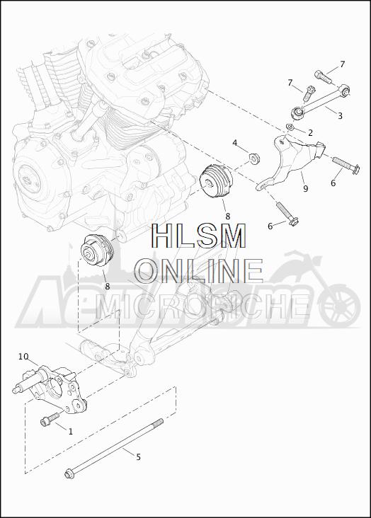 Запчасти для Мотоцикла Harley-Davidson 2019 FLTRXSE CVO ROAD GLIDE (TC) Раздел: ENGINE MOUNTS W/STABILIZER LINK | опоры двигателя вместе с стабилизатор
