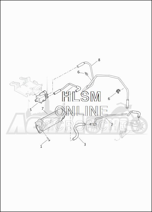 Запчасти для Мотоцикла Harley-Davidson 2019 FLTRXSE CVO ROAD GLIDE (TC) Раздел: EVAPORATIVE EMISSIONS COMPONENTS | испаритель выбросов компоненты
