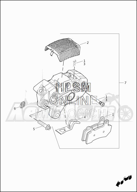 Запчасти для Мотоцикла Harley-Davidson 2019 FLTRXSE CVO ROAD GLIDE (TC) Раздел: BRAKE - FRONT BRAKE CALIPER ASSEMBLY | передний тормоз тормозной суппорт в сборе