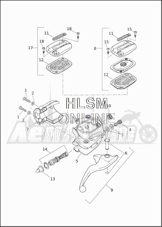 Запчасти для Мотоцикла Harley-Davidson 2019 FLTRXSE CVO ROAD GLIDE (TC) Раздел: BRAKE - FRONT BRAKE CYLINDER ASSEMBLY W/LEVER   передний тормоз тормоза цилиндр в сборе вместе с рычаг