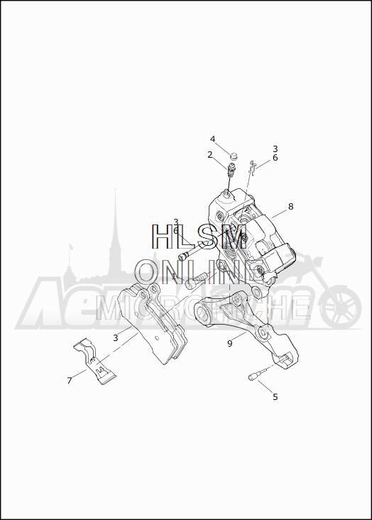 Запчасти для Мотоцикла Harley-Davidson 2019 FLTRXSE CVO ROAD GLIDE (TC) Раздел: BRAKE - REAR BRAKE CALIPER ASSEMBLY | задний тормоз тормозной суппорт в сборе