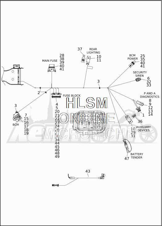 Запчасти для Мотоцикла Harley-Davidson 2019 FLTRXSE CVO ROAD GLIDE (TC) Раздел: ELECTRICAL - MAIN WIRING HARNESS - 8 | электрика главный электропроводка коса 8