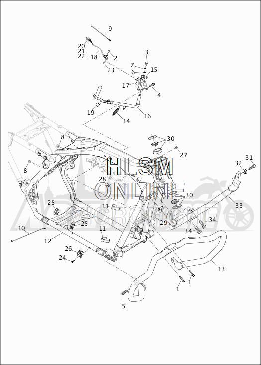 Запчасти для Мотоцикла Harley-Davidson 2019 FLTRXSE CVO ROAD GLIDE (TC) Раздел: FRAME ASSEMBLY W/JIFFY STAND | рама в сборе вместе с боковая подставка