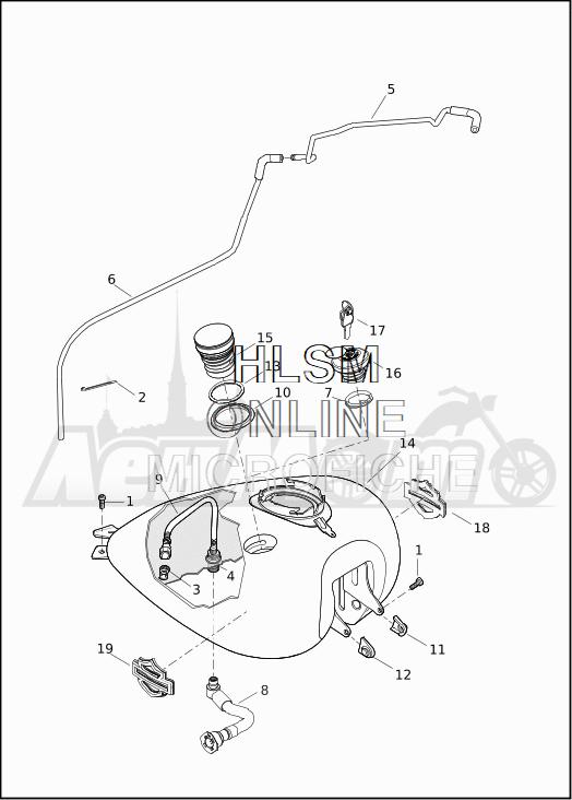 Запчасти для Мотоцикла Harley-Davidson 2019 FLTRXSE CVO ROAD GLIDE (TC) Раздел: FUEL TANK ASSEMBLY | топливный бак в сборе