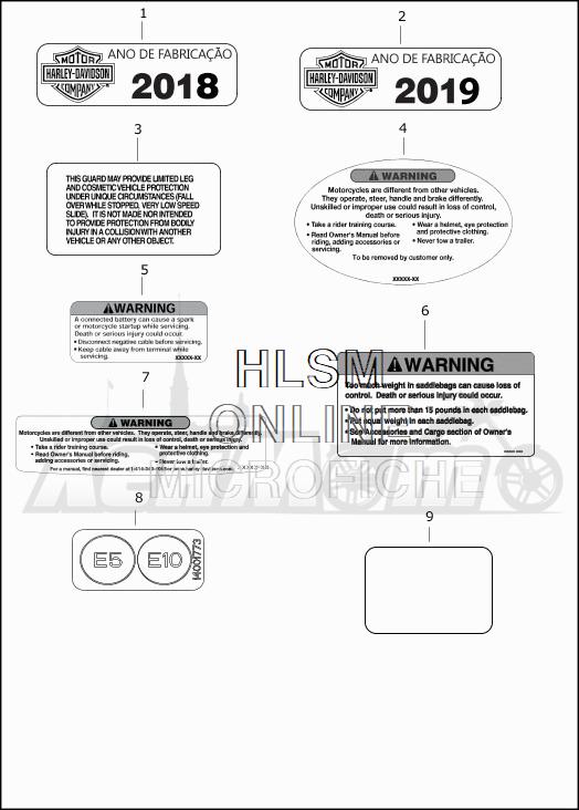 Запчасти для Мотоцикла Harley-Davidson 2019 FLTRXSE CVO ROAD GLIDE (TC) Раздел: GENERAL AND WARNING LABELS | общий и предупреждение этикетки, метки