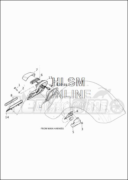 Запчасти для Мотоцикла Harley-Davidson 2019 FLTRXSE CVO ROAD GLIDE (TC) Раздел: LICENSE PLATE ASSEMBLY | площадка номерного знака в сборе