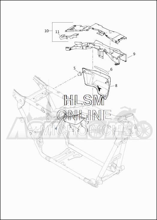 Запчасти для Мотоцикла Harley-Davidson 2019 FLTRXSE CVO ROAD GLIDE (TC) Раздел: SIDE COVERS W/AIR DEFLECTORS | боковые крышки вместе с воздух дефлекторы