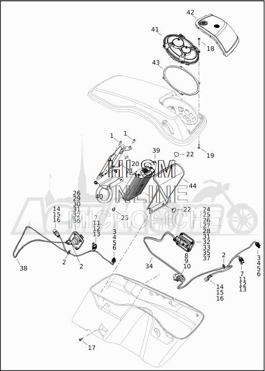 Запчасти для Мотоцикла Harley-Davidson 2019 FLTRXSE CVO ROAD GLIDE (TC) Раздел: SOUND SYSTEM - 3 | аудиосистема 3