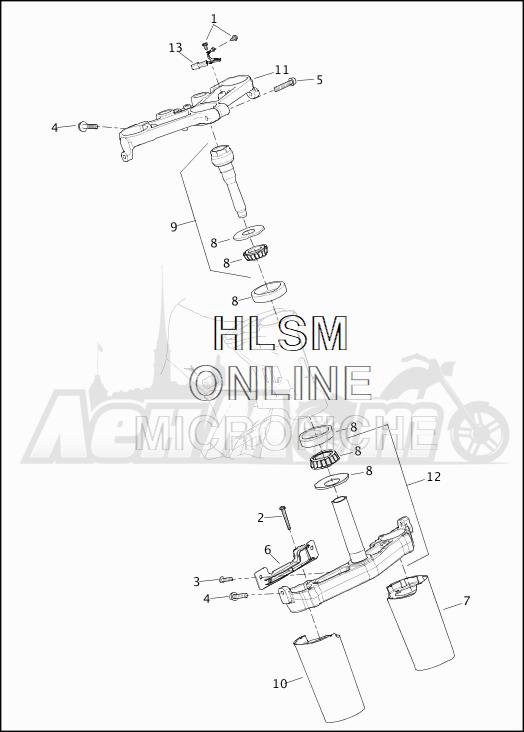 Запчасти для Мотоцикла Harley-Davidson 2019 FLTRXSE CVO ROAD GLIDE (TC) Раздел: SUSPENSION - FRONT FORK BRACKETS | передняя подвеска вилка кронштейны