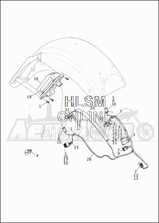Запчасти для Мотоцикла Harley-Davidson 2019 FLTRXSE CVO ROAD GLIDE (TC) Раздел: TAIL LAMP AND TURN SIGNAL_REAR | TAIL лампа и сигнал поворота зад