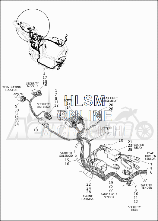 Запчасти для Мотоцикла Harley-Davidson 2019 XG500 STREET 500 (NA) Раздел: WIRING HARNESS_MAIN - ABS (REAR UPPER) | электропроводка главный жгут ABS (зад верхний)