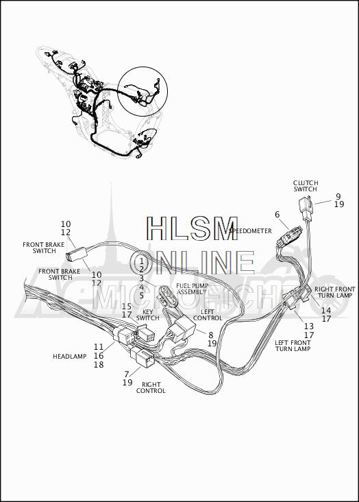 Запчасти для Мотоцикла Harley-Davidson 2019 XG500 STREET 500 (NA) Раздел: WIRING HARNESS_MAIN - NON-ABS (FRONT UPPER)   электропроводка главный жгут не ABS (перед верхний)