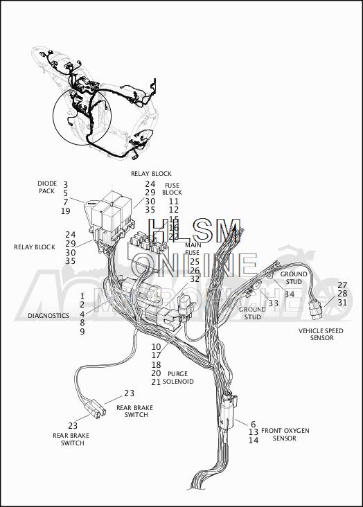 Запчасти для Мотоцикла Harley-Davidson 2019 XG500 STREET 500 (NA) Раздел: WIRING HARNESS_MAIN - NON-ABS (REAR LOWER) | электропроводка главный жгут не ABS (зад нижний)