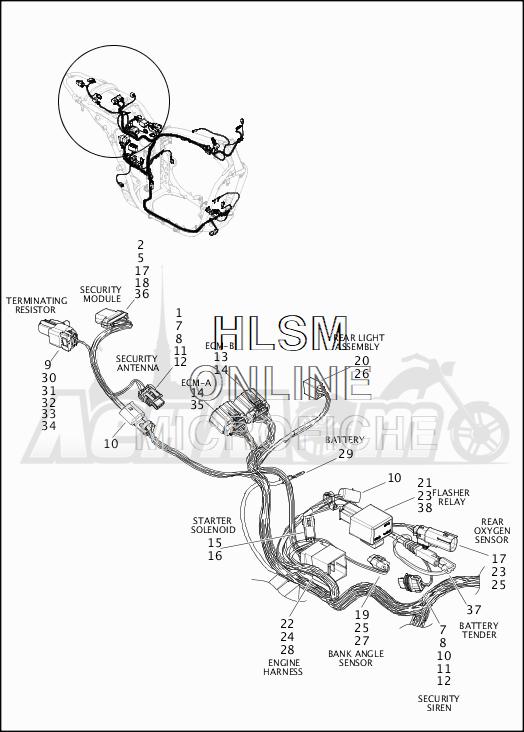 Запчасти для Мотоцикла Harley-Davidson 2019 XG500 STREET 500 (NA) Раздел: WIRING HARNESS_MAIN - NON-ABS (REAR UPPER)   электропроводка главный жгут не ABS (зад верхний)