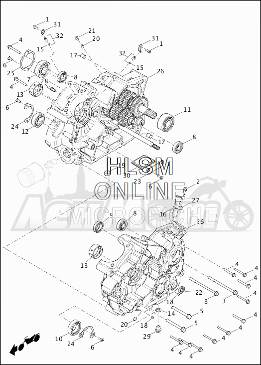 Запчасти для Мотоцикла Harley-Davidson 2019 XG500 STREET 500 (NA) Раздел: CRANKCASE ASSEMBLY | картер в сборе