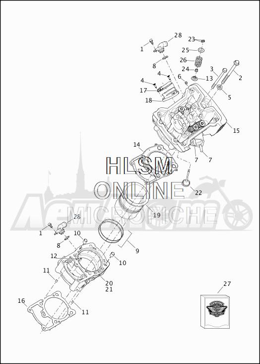 Запчасти для Мотоцикла Harley-Davidson 2019 XG500 STREET 500 (NA) Раздел: CYLINDERS W/HEADS AND VALVES | цилиндры вместе с головки и клапаны