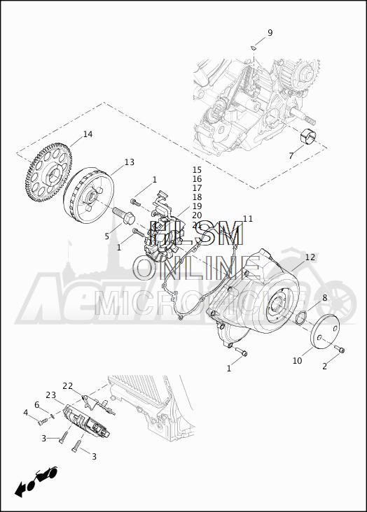 Запчасти для Мотоцикла Harley-Davidson 2019 XG500 STREET 500 (NA) Раздел: ELECTRICAL - ALTERNATOR W/VOLTAGE REGULATOR | электрика генератор вместе с регулятор напряжения