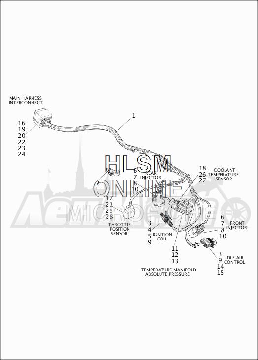 Запчасти для Мотоцикла Harley-Davidson 2019 XG500 STREET 500 (NA) Раздел: ELECTRICAL - ENGINE WIRING HARNESS ASSEMBLY | электрика двигатель электропроводка коса в сборе